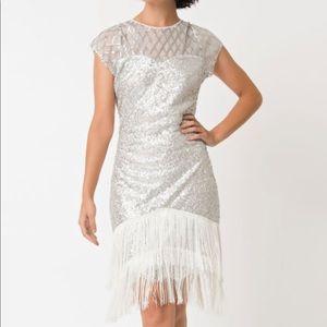 UV 1920s Silver Sequin Fringe Flapper Dress Large